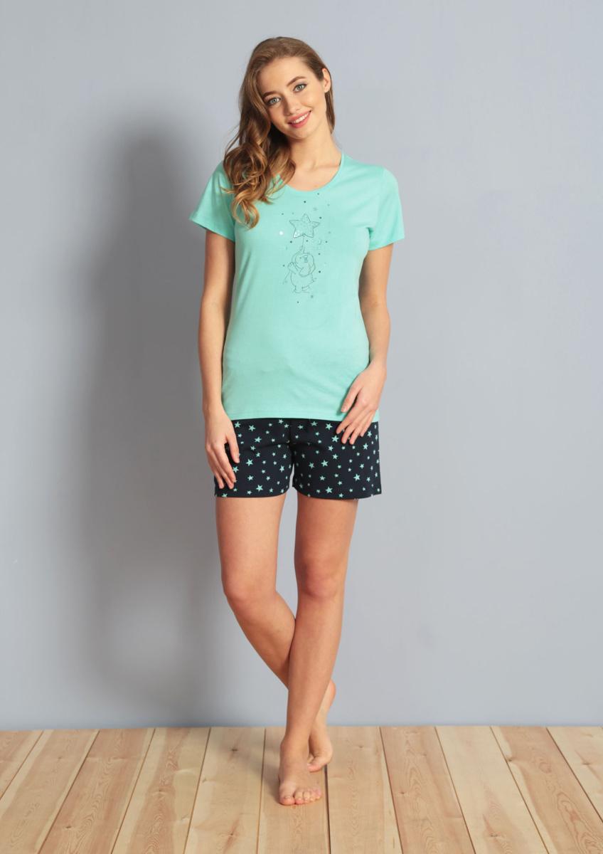 Домашний комплект610081 2102Комплект с шортамии футболкой Цветок