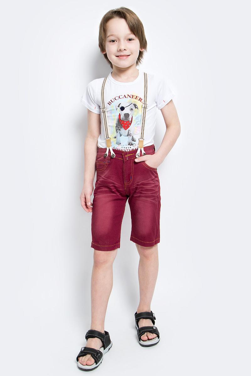 ШортыSS161B416-13Удобные шорты для мальчика Nota Bene идеально подойдут вашему маленькому моднику. Изготовленные из эластичного хлопка, они не сковывают движения, сохраняют тепло и позволяют коже дышать, обеспечивая наибольший комфорт. Шорты застегиваются на пуговицу в поясе, также имеются шлевки для ремня и ширинка на застежке-молнии. Объем пояса регулируется изнутри при помощи эластичной резинки с пуговицами. Спереди модель дополнена двумя втачными карманами и накладным кармашком, а сзади - двумя накладными карманами. Оформлено изделие перманентными складками и легким эффектом потертости. В комплект входят стильные съемные подтяжки, фиксирующиеся при помощи пуговиц. Практичные и стильные шорты идеально подойдут вашему малышу, а модная расцветка и высококачественный материал позволят ему комфортно чувствовать себя в течение дня и всегда оставаться в центре внимания!