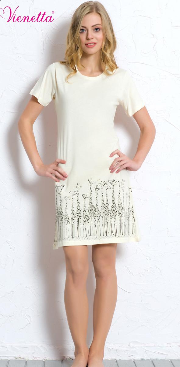 Платье домашнее608129 0000Женское домашнее платье Vienettas Secret выполнено из 100% натурального хлопка. Изделие имеет круглый вырез горловины, короткие стандартные рукава и длину чуть выше колена. Модель прямого кроя не стесняет движений и комфортна для домашней носки. Подол дополнен изображением жирафов.