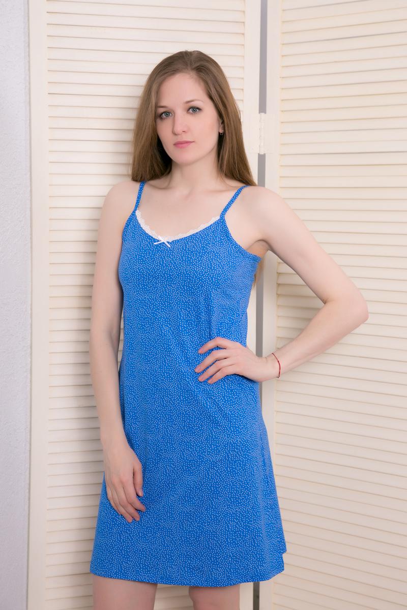 Платье домашнее408123 4687Женское домашнее платье Vienettas Secret выполнено из 100% натурального хлопка. Изделие на бретельках имеет глубокое декольте с круглым вырезом, украшенным кружевной вставкой, и длину мини. Модель не стесняет движений и комфортна для домашней носки. Платье дополнено принтом в мелкий горошек.