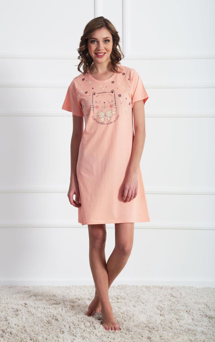 Платье домашнее611116 0000Женское домашнее платье Vienettas Secret выполнено из 100% натурального хлопка. Изделие имеет круглый вырез горловины, стандартные короткие рукава и длину мини. Модель прямого кроя не стесняет движений и комфортна для домашней носки. Платье выполнено в однотонном дизайне и дополнено изображением забавного кота.