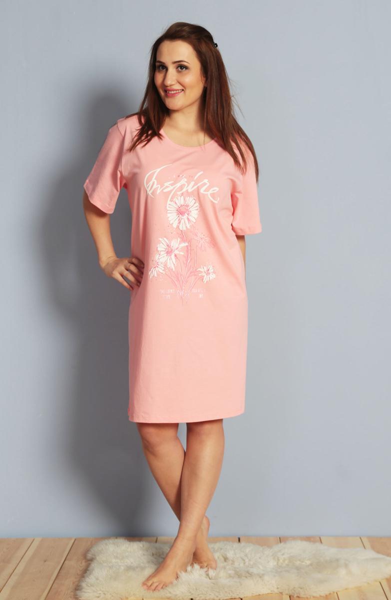 Платье домашнее612133 0000Туника короткий рукав БР Цветы