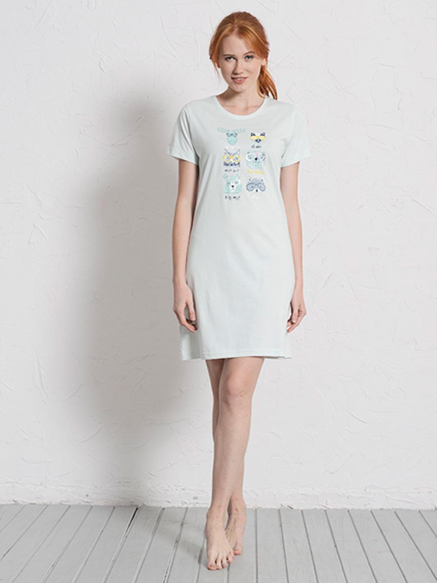 Платье домашнее608142 0000Туника зверюшки в очках с коротким рукавом