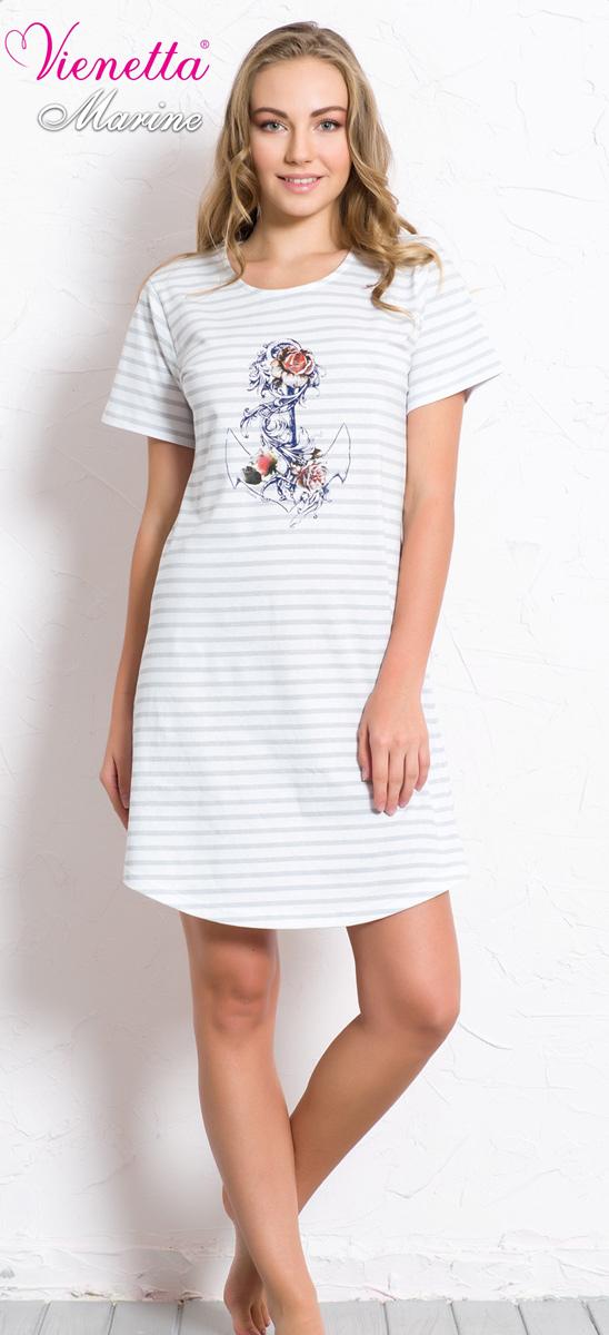 Платье домашнее607037 0348Женское домашнее платье Vienettas Secret выполнено из 100% натурального хлопка. Изделие имеет круглый вырез горловины, стандартные короткие рукава и длину мини. Модель прямого кроя не стесняет движений и комфортна для домашней носки. Платье украшено принтом в полоску и дополнено изображением якоря.