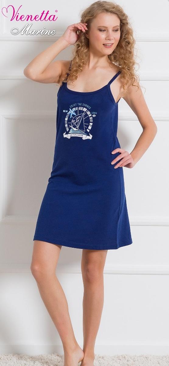 Платье домашнее607046 0000Женское домашнее платье Vienettas Secret выполнено из 100% натурального хлопка. Изделие на бретельках имеет декольте с круглым вырезом и длину мини. Модель не стесняет движений и комфортна для домашней носки. Платье украшено рисунком с морской тематикой.