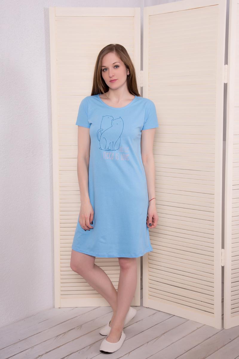 Платье домашнее17110734Платье с коротким рукавом Коты
