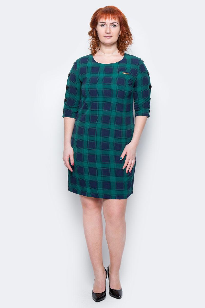 ПлатьеWD-2499FПлатье прямого силуэта, с рукавом длиной 3/4, вдоль рукава пришиты отделочные пуговицы.