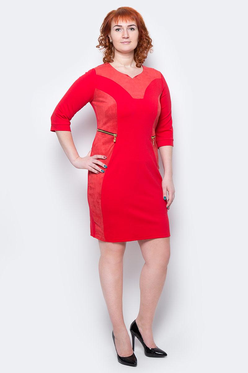 ПлатьеWD-2506FПлатье полуприлегающего силуэта, с рукавами длиной3/4, с деталями отделки из искусственной замши. На полочках обработаны обманки-карманы с металлическими молниями.