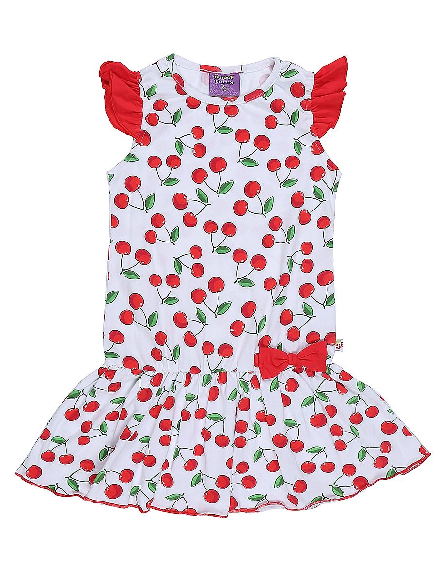 Платье714157Яркое платье для девочки Sweet Berry выполнено из высококачественного эластичного хлопка. Модель приталенного кроя с юбкой-воланом и рукавами-крылышками оформлена принтом в вишенку. Круглый вырез горловины дополнен мягкой эластичной бейкой.
