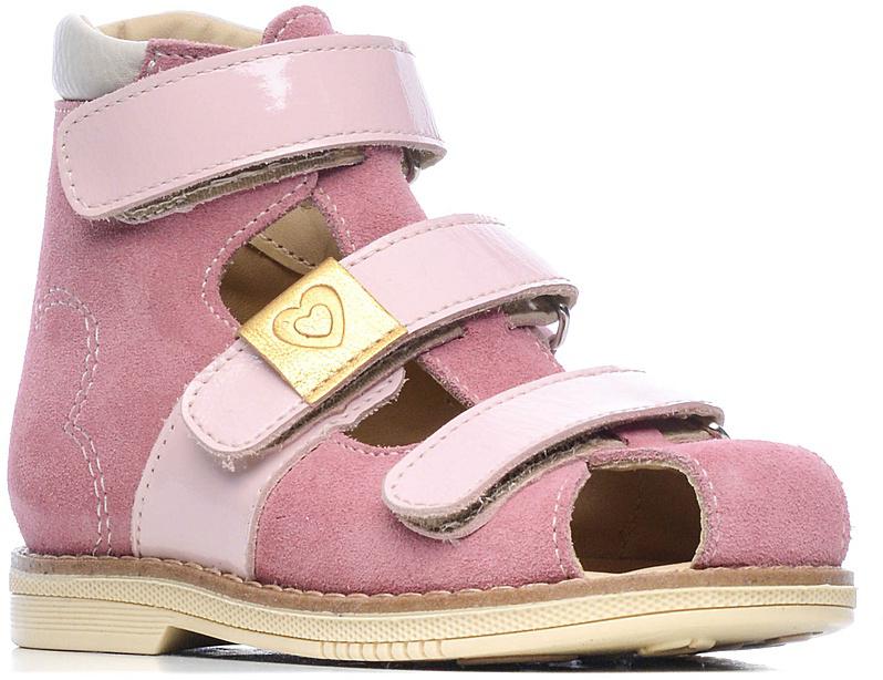 СандалииFT-26008.17-OL05O.01Эти ортопедические сандалии с закрытым носом, разработаны для коррекции стоп при вальгусной деформации, а также для профилактики плоскостопия. Применение данной модели рекомендовано детям при наличии сформировавшихся деформаций. При применении данной обуви рекомендуется использование индивидуальных ортопедических стелек по назначению врача-ортопеда. Жесткий фиксирующий задник увеличенной высоты и возможность регулировки полноты тремя застежками «велкро» обеспечивают необходимую фиксацию голеностопа в правильном положении. Широкий, устойчивый каблук, специальной конфигурации «каблук Томаса». Каблук продлен с внутренней стороны до середины стопы, предотвращает вращение (заваливание) стопы вовнутрь (пронационный компонент деформации, так называемая косолапость, или вальгусная деформация). Подкладка из кожи теленка без швов. Кожа теленка обладает повышенной износостойкостью в сочетании с мягкостью и отличной способностью пропускать воздух для создания оптимального температурного режима...