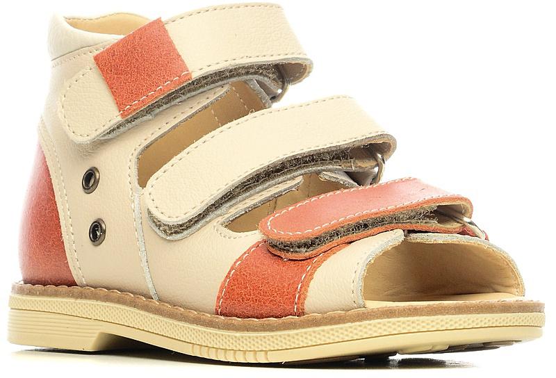 СандалииFT-26006.17-OL35O.02Эти ортопедические сандалии разработаны для коррекции стоп при вальгусной деформации, а также для профилактики плоскостопия. Применение данной модели рекомендовано детям при наличии сформировавшихся деформаций. При применении данной обуви рекомендуется использование индивидуальных ортопедических стелек по назначению врача-ортопеда. Жесткий фиксирующий задник увеличенной высоты и возможность регулировки полноты тремя застежками «велкро» обеспечивают необходимую фиксацию голеностопа в правильном положении. Широкий, устойчивый каблук, специальной конфигурации «каблук Томаса». Каблук продлен с внутренней стороны до середины стопы, предотвращает вращение (заваливание) стопы вовнутрь (пронационный компонент деформации, так называемая косолапость, или вальгусная деформация). Подкладка из кожи теленка без швов. Кожа теленка обладает повышенной износостойкостью в сочетании с мягкостью и отличной способностью пропускать воздух для создания оптимального температурного режима (нога не потеет)....