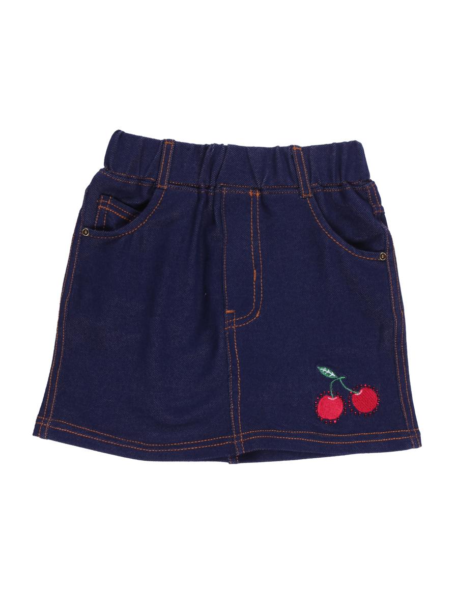 Юбка714179Стильная юбка для девочки Sweet Berry выполнена из мягкого джинсового материала и оформлена вышивкой со стразами и контрастной строчкой. Модель мини-длины с имитацией ширинки имеет пояс на мягкой эластичной резинке со шлевками для ремня. Изделие дополнено двумя втачными и одним накладным кармашком спереди и двумя накладными карманами сзади.
