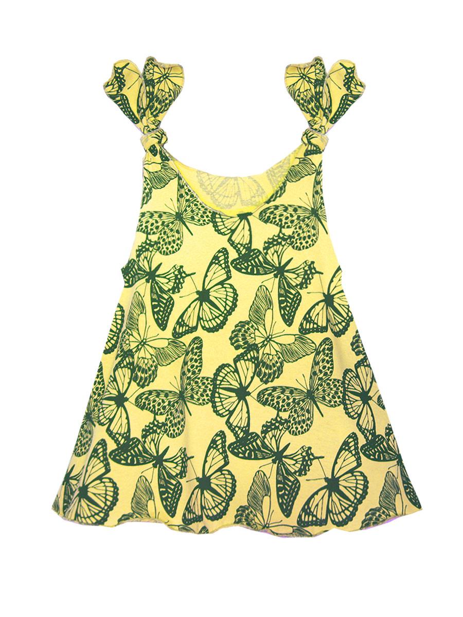 Платье21402Платье КотМарКот выполнено из натурального хлопка, приятного на ощупь. Модель с круглым воротником без рукавов оформлена оригинальным принтом и сборкой.