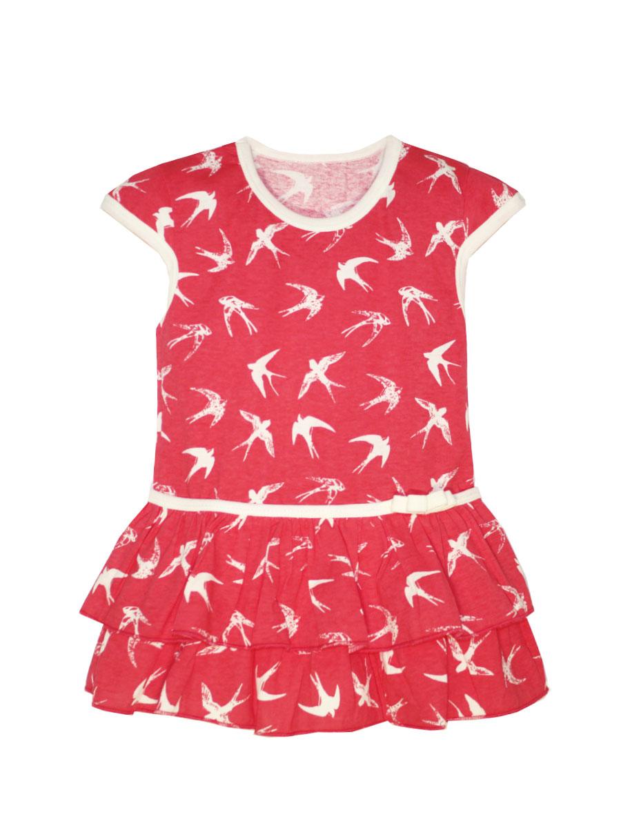 Платье21505Платье КотМарКот выполнено из натурального хлопка, приятного на ощупь. Модель с круглым воротником и стандартными короткими рукавами оформлена оригинальным принтом и сборкой.
