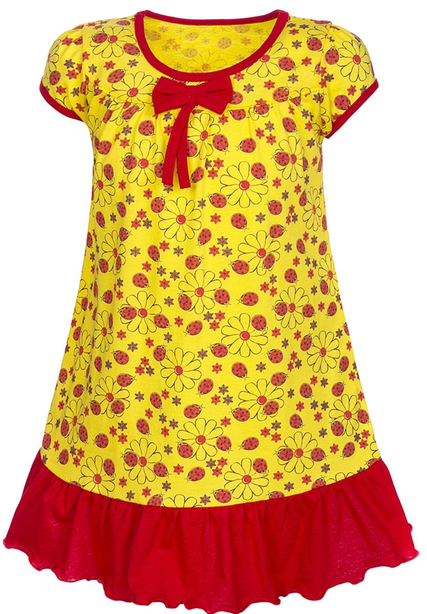 ПлатьеПЛ7030114Платье для девочки M&D станет отличным вариантом для прогулок на свежем воздухе. Изготовленное из мягкого хлопка, оно тактильно приятное, хорошо пропускает воздух. Платье с круглым вырезом горловины и короткими рукавами дополнено мелким ярким принтом. По подолу платье оформлено рюшами, а вырез горловины и края рукавов обшиты бейкой. На груди платье украшает текстильный бант. Рюши, бейка и бант имеют однотонный яркий цвет, делая дизайн еще более радостным и узнаваемым.