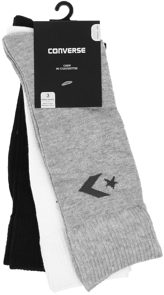 Комплект носковE218H3010Мужские носки Converse изготовлены из качественного полиэстера с добавлением эластана. Модель декорирована буквенным принтом с названием бренда. Эластичная резинка плотно облегает ногу, не сдавливая ее.