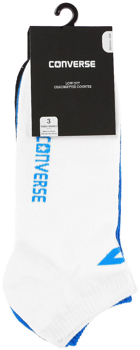 Комплект носковE217W3010Мужские носки Converse изготовлены из качественного смесового текстиля на основе хлопка. Модель оформлена буквенным принтом с названием бренда. Эластичная резинка плотно облегает ногу, не сдавливая ее.