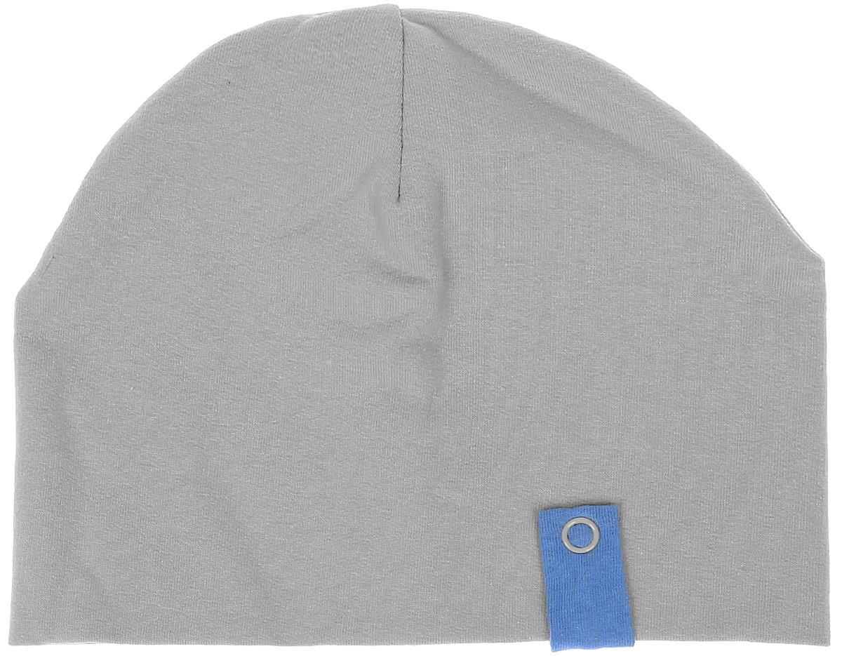 Шапка детская14-594Детская шапочка СовенокЯ изготовлена из натурального хлопка. Шапочка выполнена из двойного плотного трикотажа. Спереди модель дополнена декоративным хлястиком контрастного цвета с металлической кнопкой. Уважаемые клиенты! Размер, доступный для заказа, является обхватом головы.