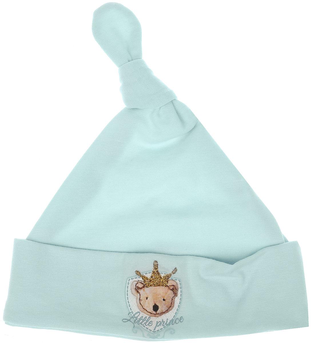 Шапка детская34-598Детская шапочка СовенокЯ изготовлена из натурального хлопка. Тонкая шапочка дополнена отворотом и длинным колпачком, завязанным в узел. Спереди имеется нашивка в виде мордочки мишки в короне. Уважаемые клиенты! Размер, доступный для заказа, является обхватом головы.