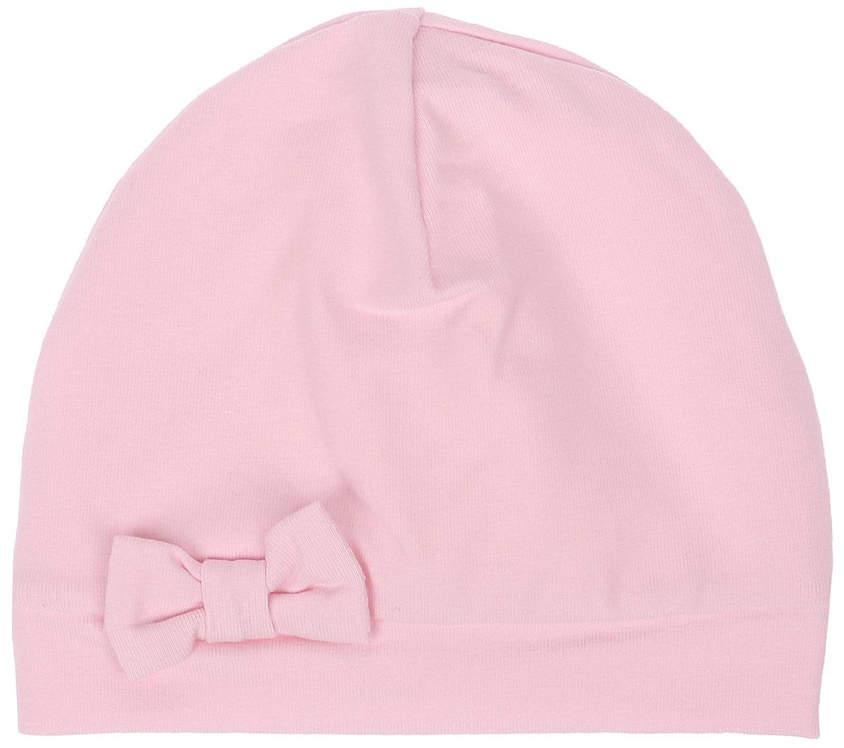 Шапка детская33-592Детская шапочка СовенокЯ изготовлена из натурального хлопка. Тонкая шапочка выполнена из двойного трикотажа. Спереди модель дополнена декоративным бантиком. Уважаемые клиенты! Размер, доступный для заказа, является обхватом головы.