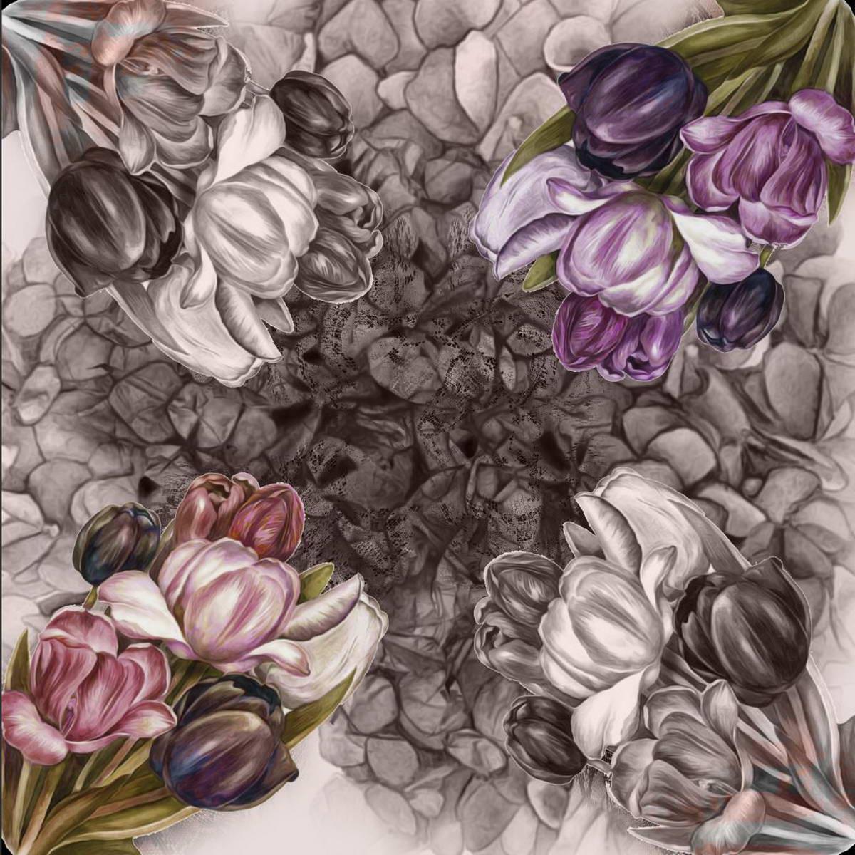 Платок3902627-1Интересный платок размером 90 х 90 с интересным зеркальным принтом выполнен в фиолетовом цвете. Необычный рисунок привлечет ваше внимание своей уникальностью. Вы будете неповторимы.