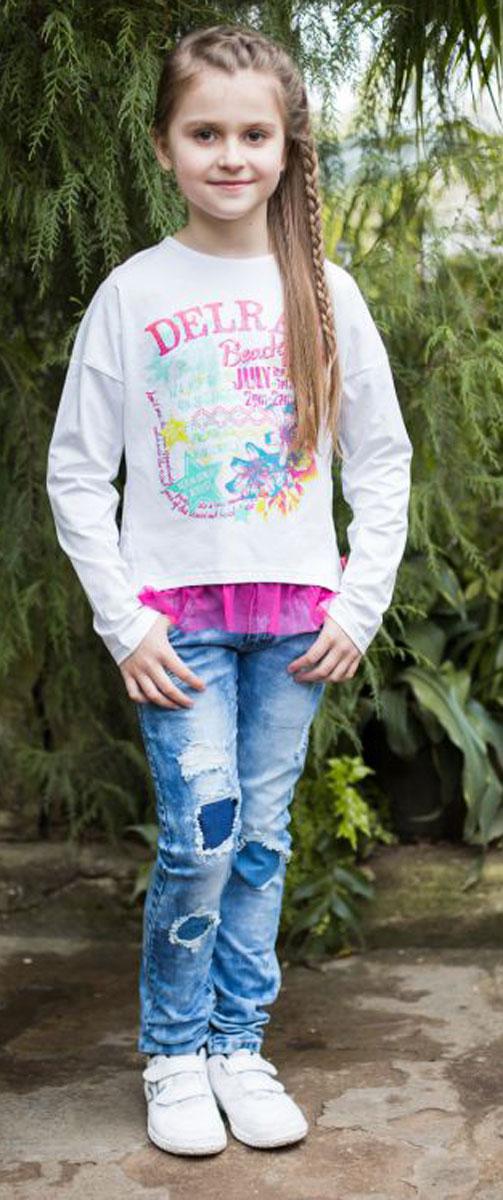 Футболка718003Стильная футболка из трикотажной, мягкой ткани для девочки, с длинным рукавом. Декорирована ярким принтом и кружевом по низу изделия.