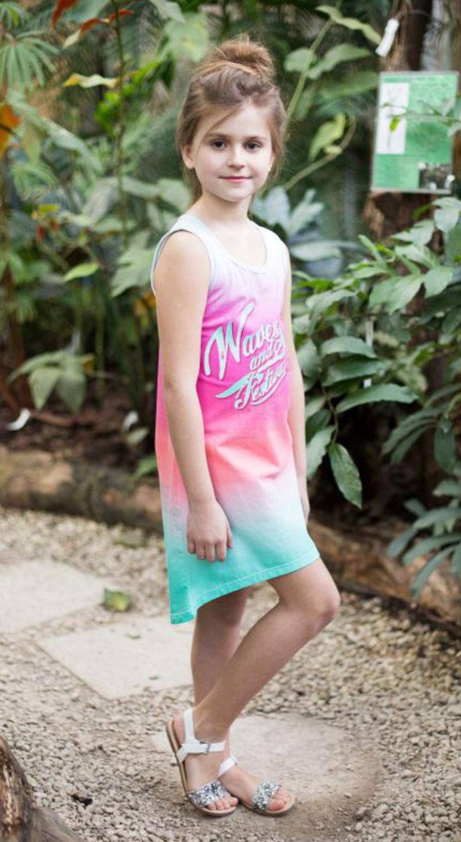 Платье718015Платье свободного кроя из трикотажной ткани с ярким градиентом и ассиметричным низом. Декорировано стильным принтом и контрастной отделкой горловины и проймы.