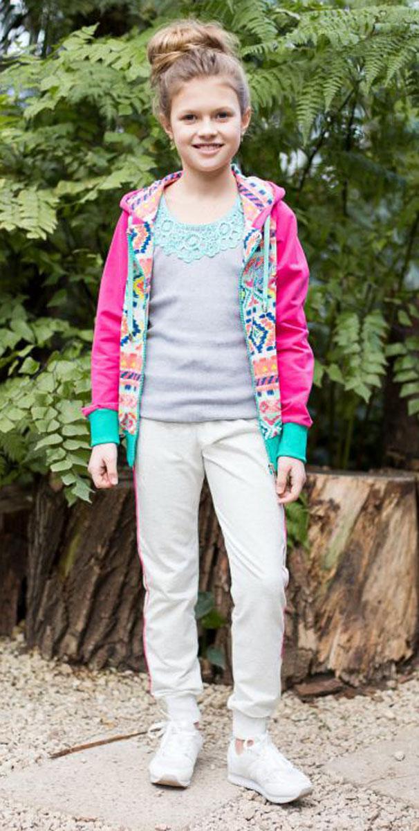 Майка718014Майка-топ для девочки. Горловина декорирована кружевным плетением.