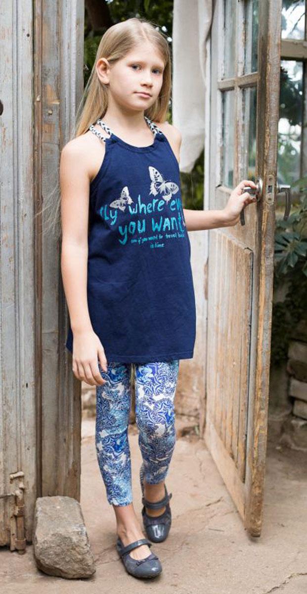 Леггинсы718054Леггинсы для девочки выполнены из трикотажного полотна с оригинальным принтом. Низ брючин декорирован эластичной сборкой.