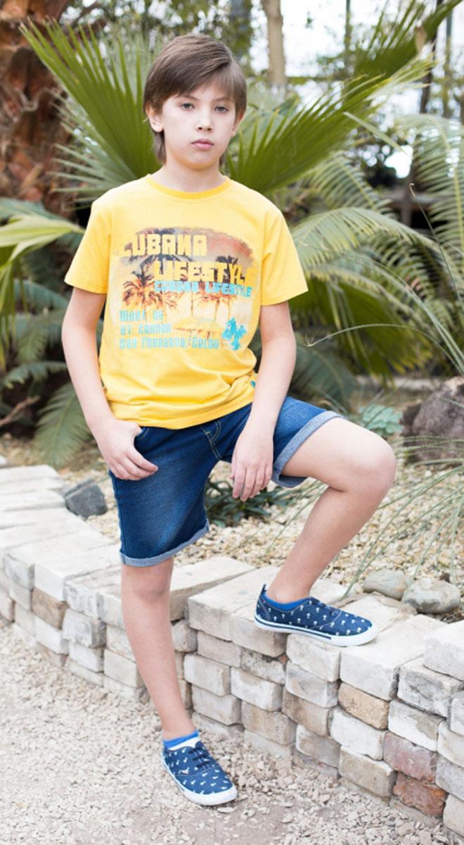 Шорты717051Джинсовые шорты на резинке с завязками для мальчика.
