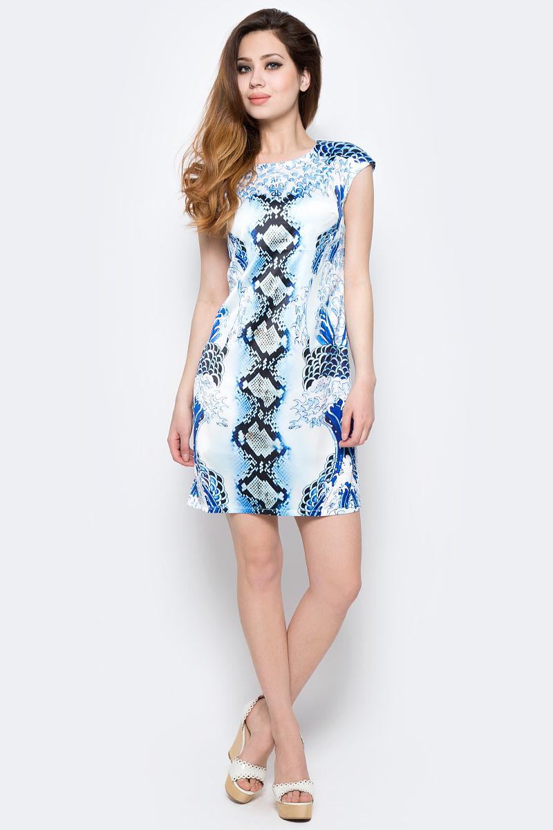 ПлатьеWD-2440CПлатье полуприлегающего силуэта, с короткими рукавами покроя реглан, из купонной ткани.