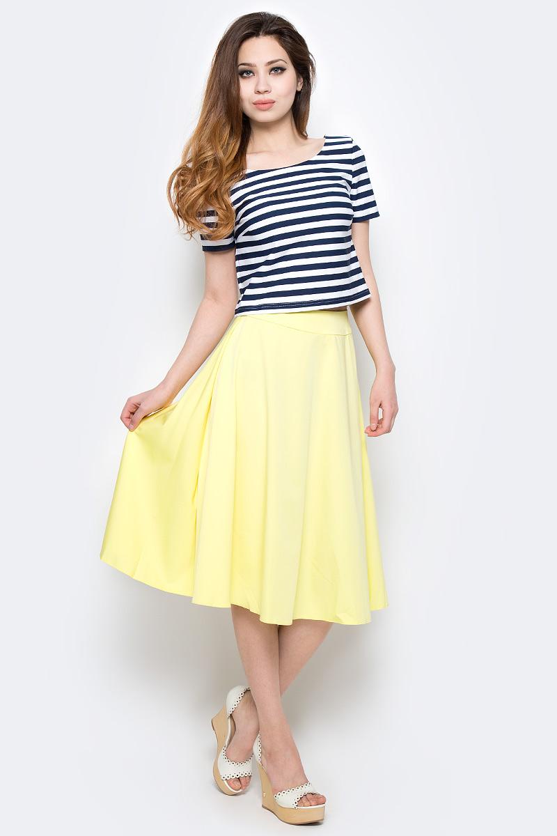 Комплект одеждыWD-2490FПлатье полуприлегающего силуэта, отрезное по талии, с короткими втачными рукавами, юбка расклешенная