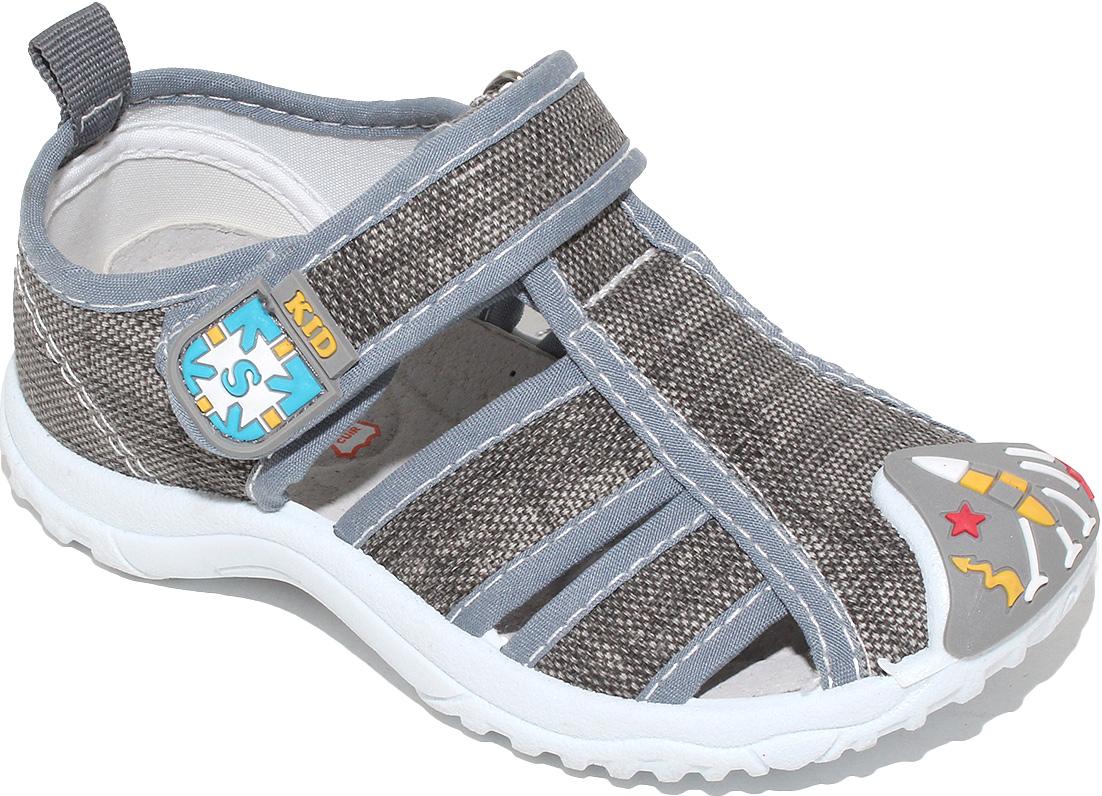 СандалииA6557Сандалии для мальчика от Капитошка выполнены из текстиля и дополнены укрепленным носком. На ноге модель фиксирует ремешок на липучке. Внутренняя поверхность и стелька изготовлены из натуральной кожи и текстиля. Подошва из резины оснащена рифлением.