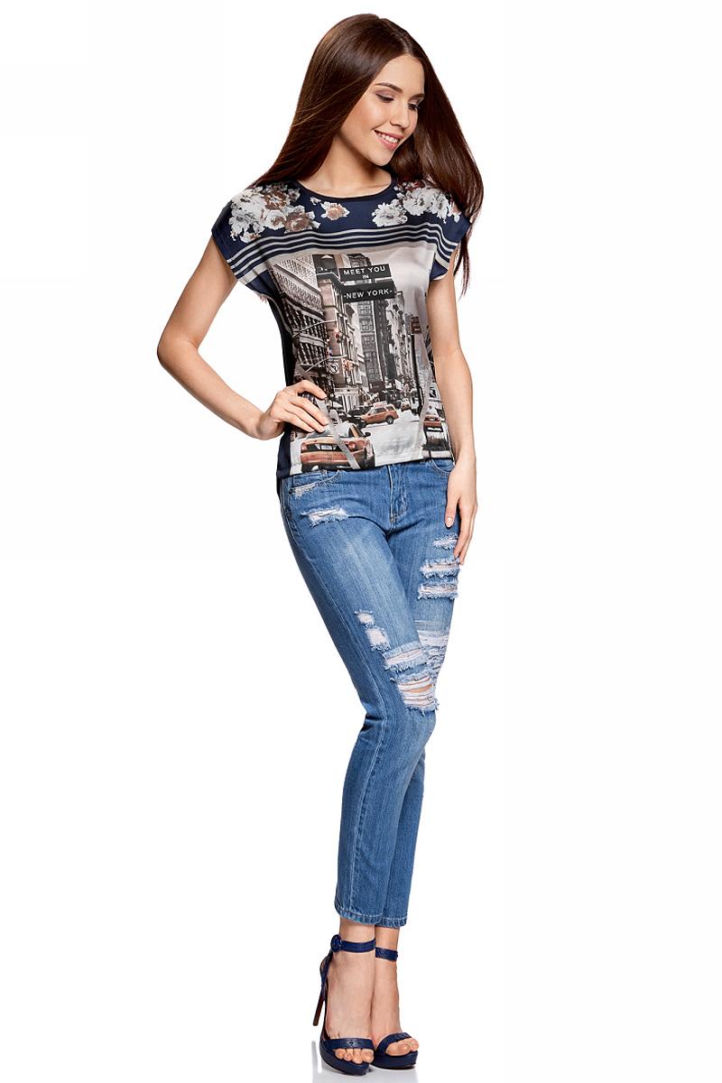 Блузка11405140/46724/1229PФутболка принтованная из комбинированной ткани