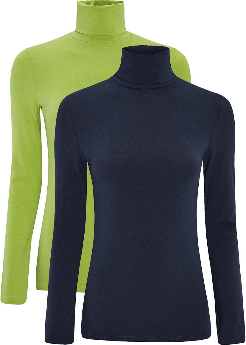 Водолазка15E02001T2/46147/2900NБазовая женская водолазка oodji Ultra выполнена из эластичной хлопковой ткани. У модели воротник-гольф и стандартные длинные рукава. В набор входит две водолазки.