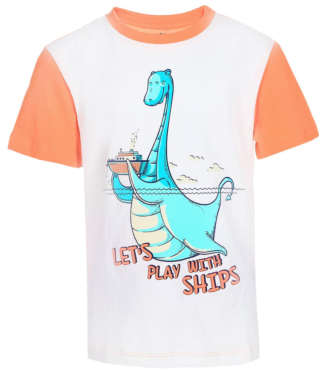 ФутболкаTs-711/189-7213Стильная футболка для мальчика Sela изготовлена из натурального хлопка двух цветов. Полочка оформлена изображением динозавра и надписями. Спинка, рукава и мягкая трикотажная резинка на воротнике выполнены из материала контрастного цвета. Яркий цвет модели позволяет создавать модные образы.
