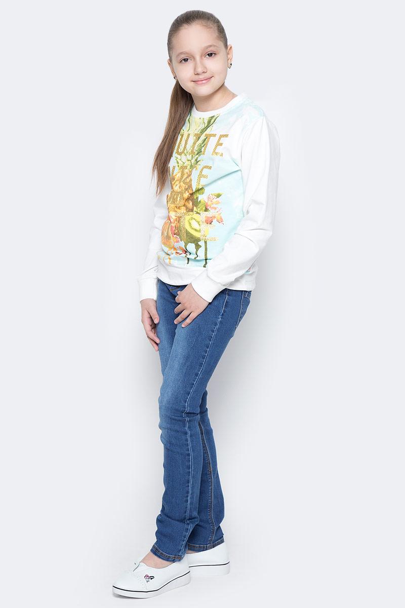 Толстовка718075Трикотажная толстовка для девочки, декорированная цветочной аппликацией.