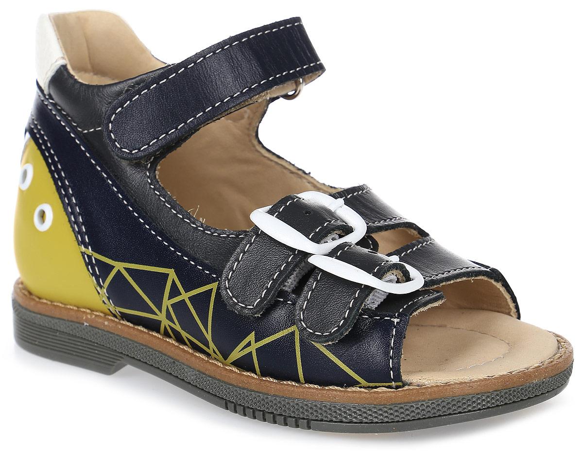 СандалииFT-26001.17-OL12O.01Детские сандалии для ежедневной профилактики плоскостопия. Широкий, устойчивый каблук, специальной конфигурации «каблук Томаса». Каблук продлен с внутренней стороны до середины стопы, чтобы исключить вращение (заваливание) стопы вовнутрь (пронационный компонент деформации, так называемая косолапость, или вальгусная деформация). Многослойная, анатомическая стелька со сводоподдерживающим элементом для правильного формирования стопы. Благодаря использованию современных внутренних материалов позволяет оптимально распределить нагрузку по всей площади стопы и свести к минимуму ее ударную составляющую. Жесткий фиксирующий задник с удлиненным «крылом» надежно стабилизирует голеностопный сустав во время ходьбы, препятствуя развитию патологических изменений стопы. Упругая, умеренно-эластичная подошва, имеющая перекат позволяющий повторить естественное движение стопы при ходьбе для правильного распределения нагрузки на опорно-двигательный аппарат ребенка. Подкладка из кожи теленка без швов. Кожа...