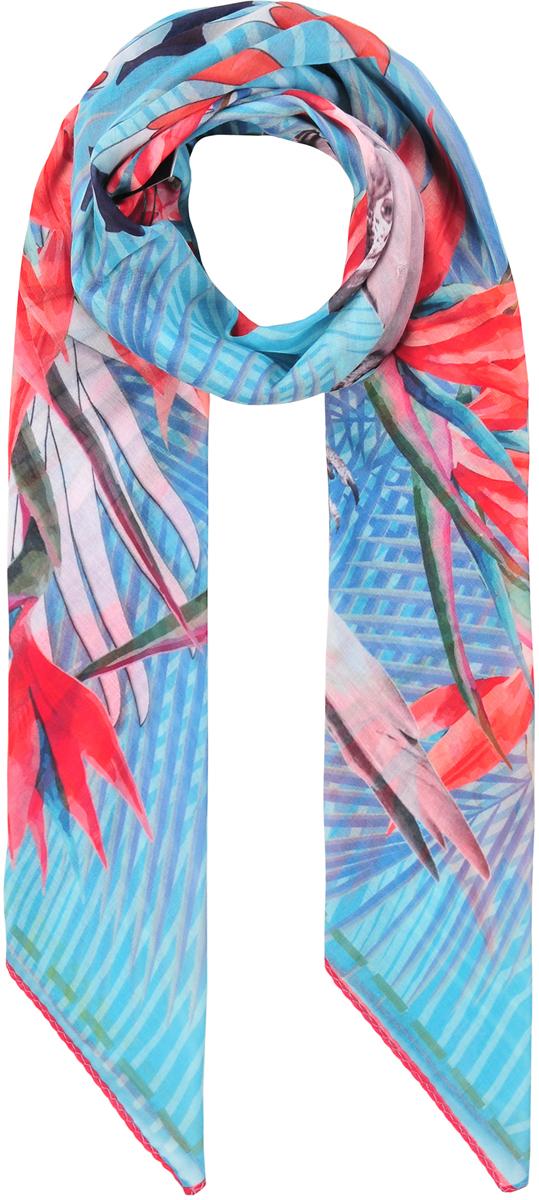 Платок23/0530/180Модный головной платок с натуральным шелком в составе. В основе невообразимо красивый яркий принт с тропической флорой и попугаями. Лаконичная машинная обработка края. Состав: 80% хлопок; 20% шелк. Размер: 110х110 см.