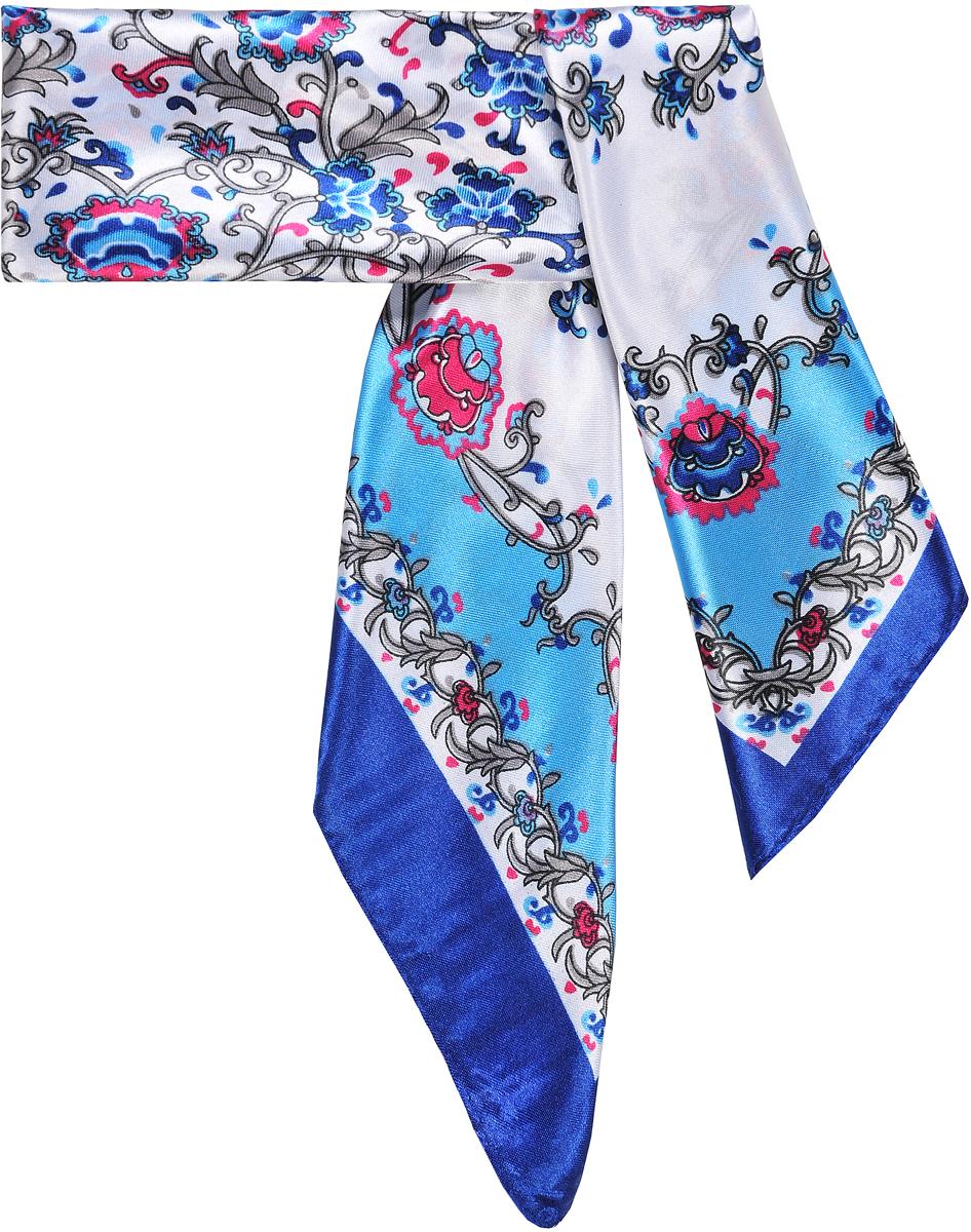 Шейный платок23/0512/180Модный шейный платок с принтом с флоральными арабесками. Натуральный шелк в составе придает ему атласную, приятную на ощупь поверхность. Лаконичная машинная обработка края. Платок с ярким контрасным кантом. Прекрасно подойдет для любого случая, будь то рабочий день или вечеринка. Состав: 15% шелк; 85% полиэстер. Размер: 60*60 см.