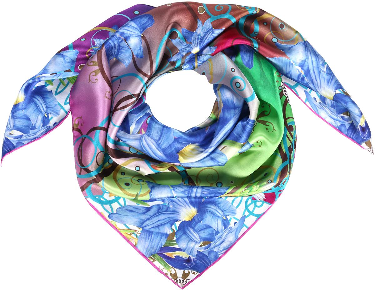 Платок23/0536Изысканный струящийся платок-каре из натурального шелка с панельным цветочным принтом наполненным яркими красками. Ручная обработка края. Легкий и приятный к телу. Состав: 100% шелк. Размер 90*90 см.