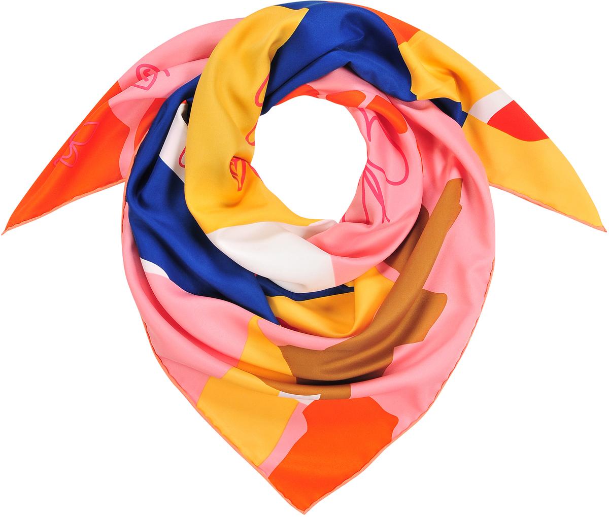Платок23/0542/600Модный платок-каре из натурального шелка с ярким абстрактным принтом и контурными бабочками. Ручная обработка края. Легкий и приятный к телу. Состав: 100% шелк. Размер 90*90 см.