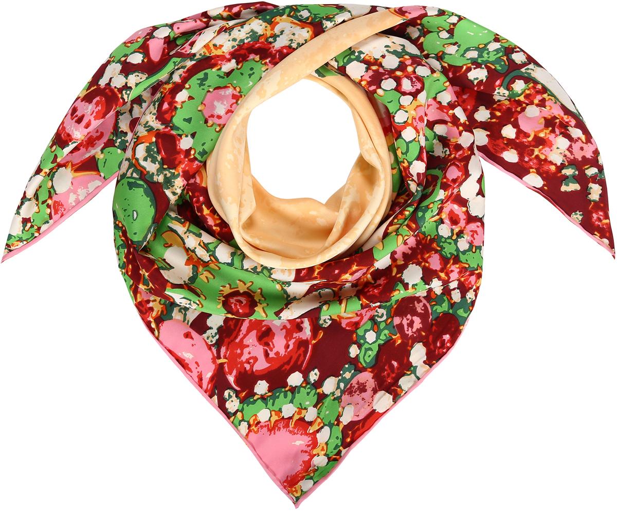 Платок23/0546/601Превосходный платок-каре из натурального шелка. Мазаичный принт с цветами и бабочкой. Ручная обработка края. Легкий и приятный к телу. Состав: 100% шелк. Размер 90*90 см.