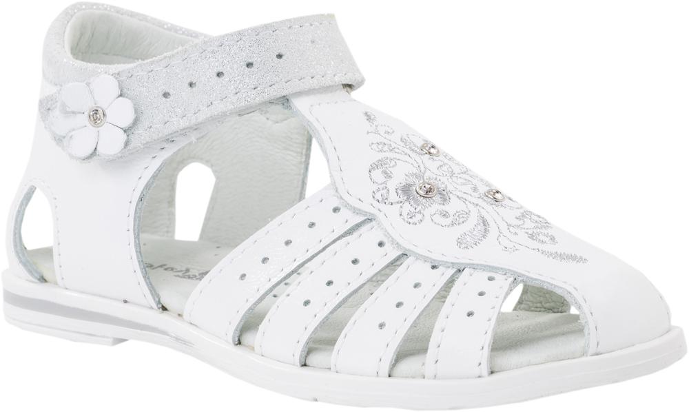 Сандалии322030-21Модные сандалии для девочки от Котофей выполнены из натуральной кожи. Подъем оформлен вышивкой и стразами. Внутренняя поверхность и стелька из натуральной кожи обеспечат комфорт при движении. Ремешок с застежкой-липучкой надежно зафиксирует модель на ноге. Подошва дополнена рифлением.