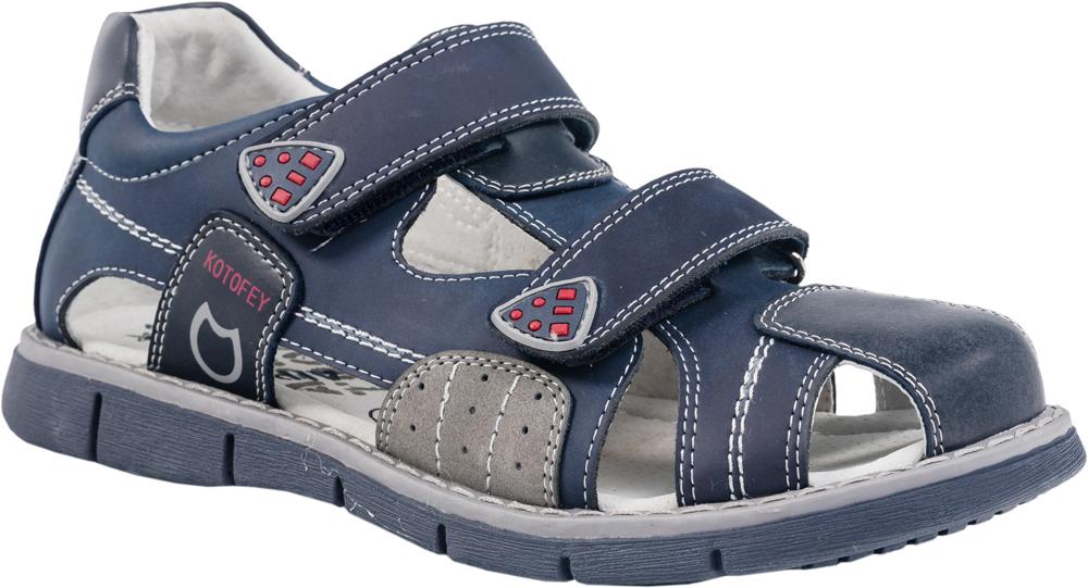 Сандалии622045-22Модные сандалии для мальчика от Котофей выполнены из натуральной кожи. Ремешки с застежками-липучками надежно зафиксируют модель на ноге. Внутренняя поверхность и стелька из натуральной кожи обеспечат комфорт при движении. Подошва дополнена рифлением.