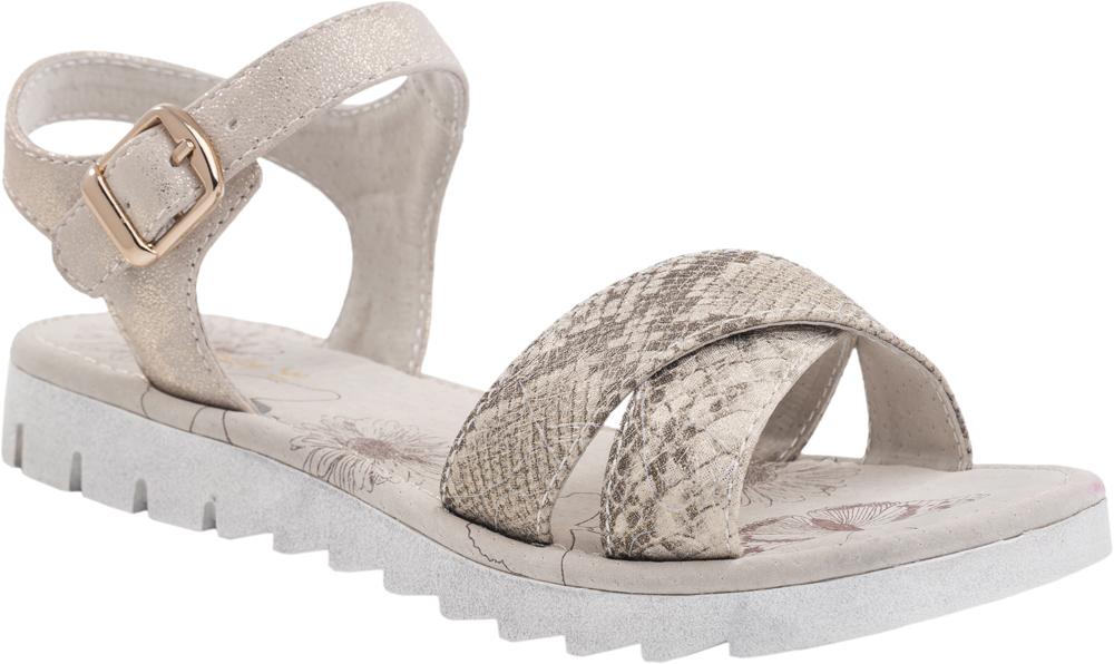 Сандалии623012-22Модные сандалии для девочки от Котофей выполнены из искусственной кожи. Внутренняя поверхность и стелька из натуральной кожи обеспечат комфорт при движении. Ремешок с металлической пряжкой надежно зафиксирует модель на ноге. Подошва дополнена агрессивным протектором.
