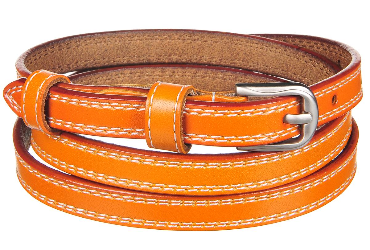 Ремень91/0254/006Великолепный узкий ремень в этническом стиле. Выполнен из натуральной кожи со строчкой. Декорирован пряжкой цвета перламутровый никель. Ширина: 1,4 см. Длина: 108,5 см. Длина регулируется.