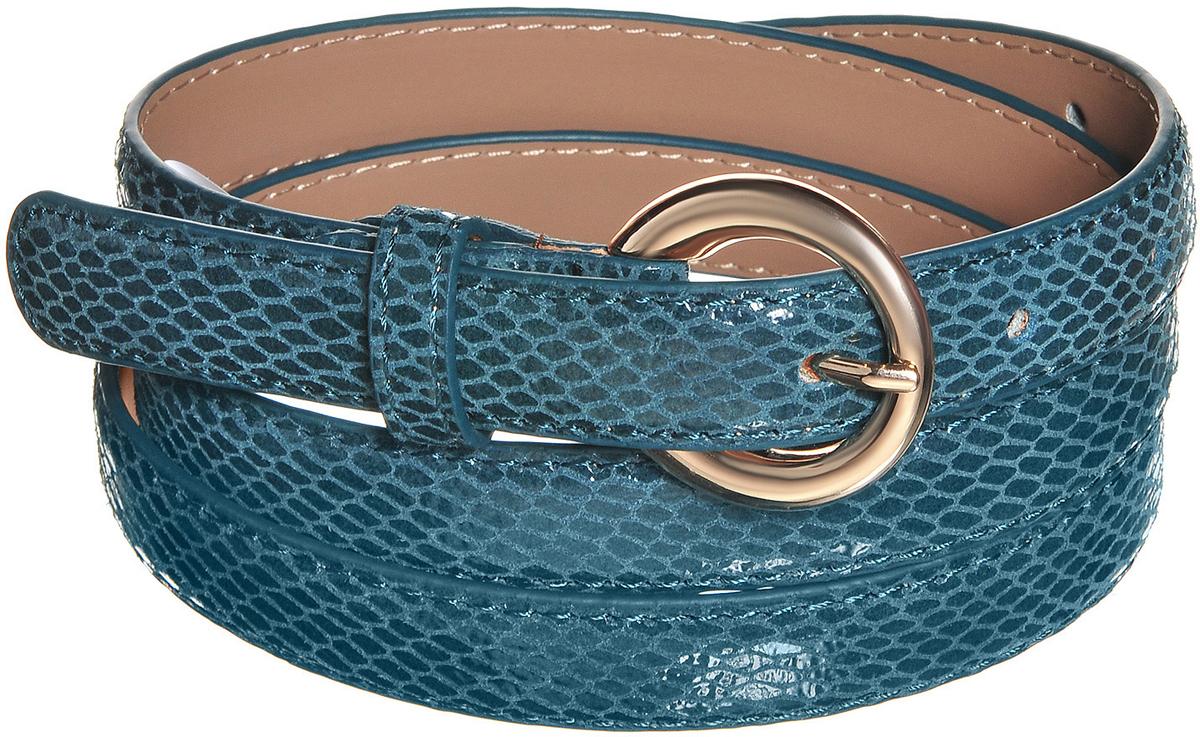 Ремень91/0263/023Потрясающий узкий ремень выполнен из натуральной кожи с лаковой поверхностью имитирующей змеиную кожу. Декорирован пряжкой золотистого цвета. Длина: 107,5 см. Ширина: 1,9 см. Длина регулируется.