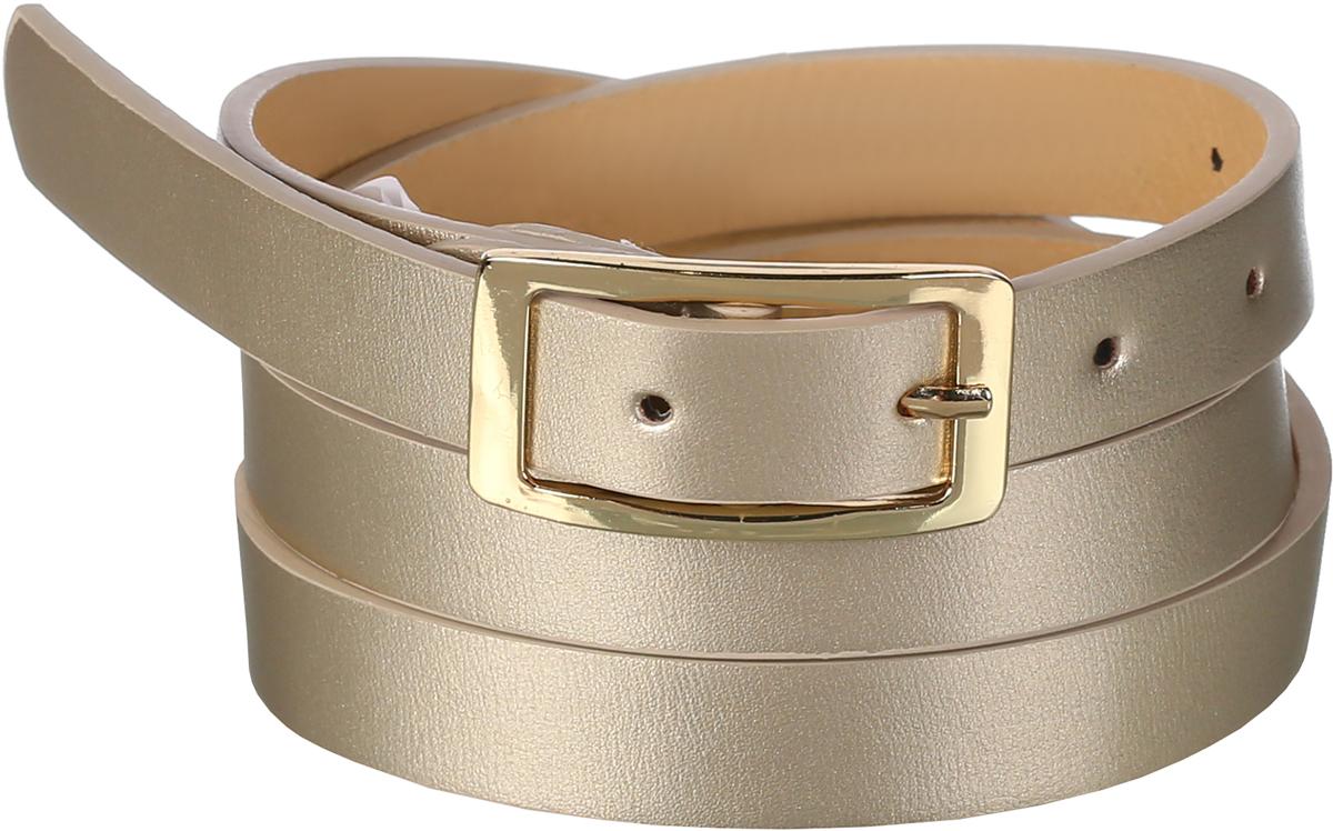 Ремень91/0270/117Нежный и изящный перламутровый ремень выполнен из искусственной кожи. Декорирован прямоугольной пряжкой золотого цвета. Ширина: 2 см. Длина: 115 см.