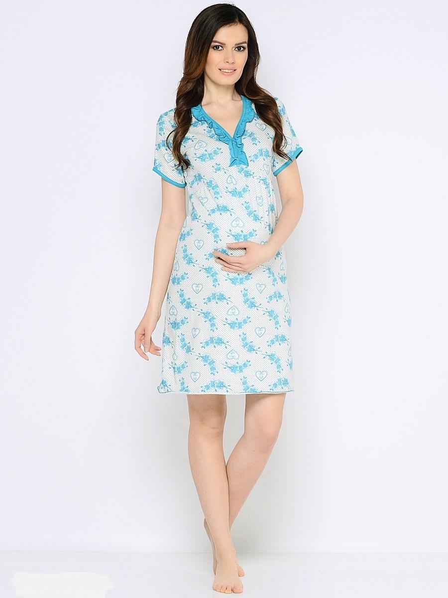 Ночная рубашка180136Комфортная сорочка для беременных и кормящих мамочек из 100% хлопка. Сорочка украшена оборкой и контрастной планкой по V - образному вороту и дополнена кнопочками, которые создадут удобство при кормлении малыша. Мягкая, хлопковая ткань, нежный принт, женственный крой, контрастная окантовка, удобный секрет кормления делаю сорочку комфортной и любимой.
